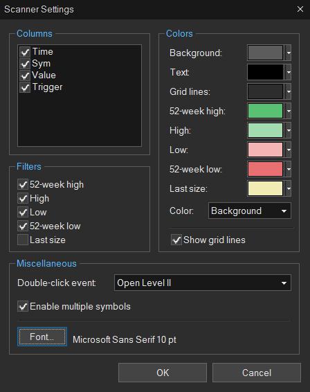Sterling Trader Pro Scanner Settings