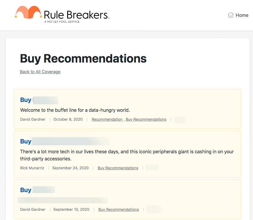 Rule Breakers Stock Picks