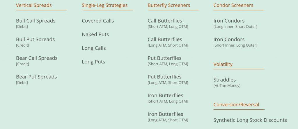 Market Chameleon Options Screeners