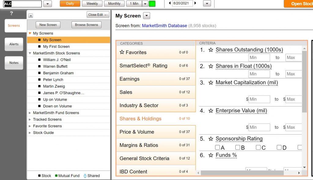 MarketSmith Stock Screens